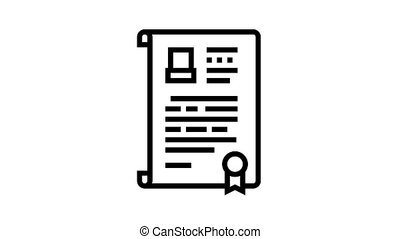 will death certificate animated black icon. will death certificate sign. isolated on white background