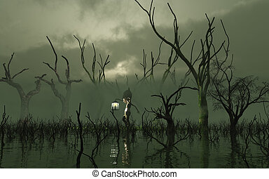 Will O' the Wisp carrying a lantern through a misty swamp with dead trees, 3d digitally rendered illustration