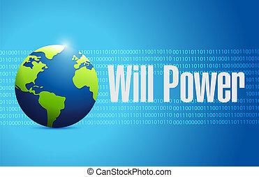 will power binary globe sign concept illustration design...