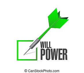 will power check dart sign concept