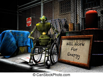 Will work for energy - Robot in wheelchair on a city street...
