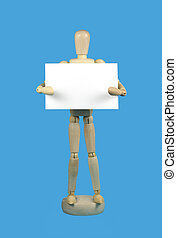 Will work for food - Wooden mannequin holding a blank white...