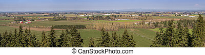 Willamette agricultural landscape a panoramic view Oregon.