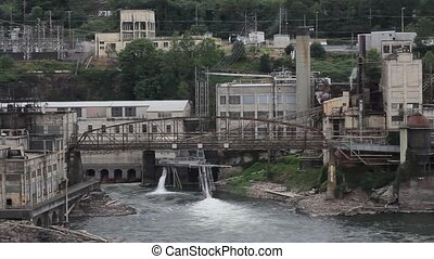 Willamette Falls is a Natural Waterfall in Oregon City with a Hydro Electric Generation Facility 1920x1080