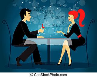 wille, sie, heiraten, mir, hochzeit, vorschlag