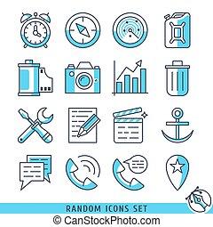 willekeurig, toevallig, vector, set, illustratie, iconen
