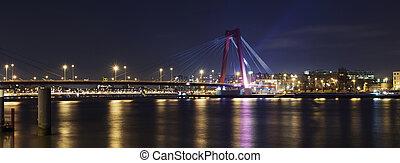 Willemsbrug Bridge and river Meuse at night - Willemsbrug...
