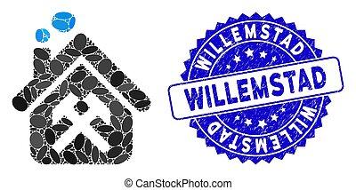 willemstad, grunge, atelier, timbre, mosaïque, icône