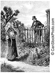 William Andrew talking to her over the fence, vintage ...