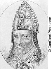 William Bateman on engraving from the 1800s. Medieval Bishop...