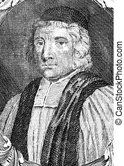 William Beveridge (1637-1708) on engraving from the 1700s. English Bishop of St Asaph. Engraved by B.Ferrers.