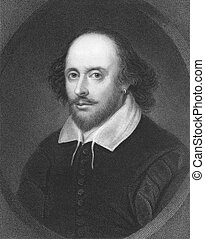William Shakespeare (1564-1616) on engraving from the 1800s. English poet and playwright, widely regarded as the greatest writer in the English language. Engraved by E. Scriven and published in London by Charles Knight, Ludgate Street.