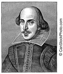 William Shakespeare, English poet and playwright. Engraving from The Leisure Hour Magazine april 1864. The image is currently in public domain by the virtue of age.