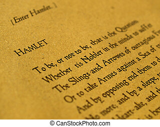 William Shakespeare's Hamlet (original Middle English text from the First Folio of 1623) - selective focus