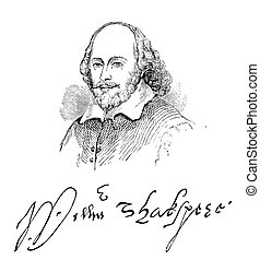 William Shakespeare - An engraved illustration image of the...