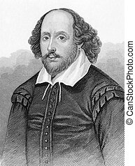 William Shakespeare (1564-1616) on engraving from the 1800s....