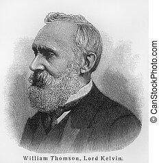 Vintage 19th century old engraving representing William Thomson Kelvin