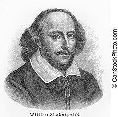 william, viejo, shakespeare, dibujo