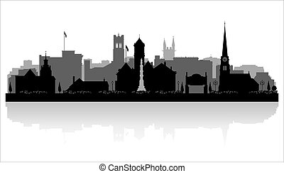 Williamsport Pennsylvania city skyline silhouette - ...