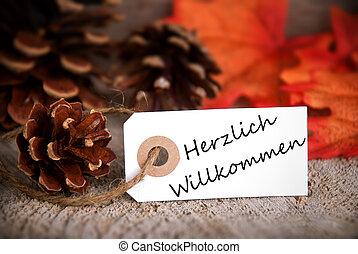 willkommen, herzlich, étiquette, automne