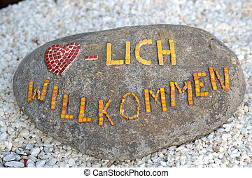 Willkommensgruss auf Granitstein - Welcome message on...