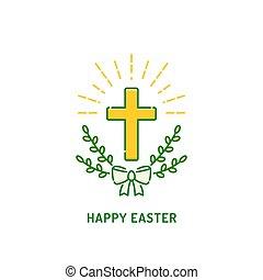 willow., キリスト教徒, card., 挨拶, 交差点, 宗教, ロゴ, 休日, イースター, 幸せ