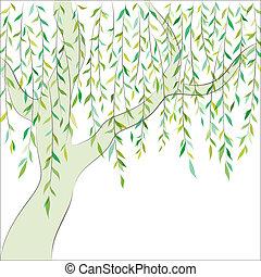 willow., グラフィック, ベクトル, 背景, design.