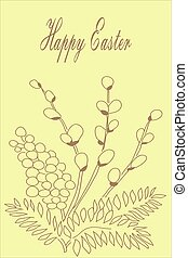 Willow branch. Easter card.