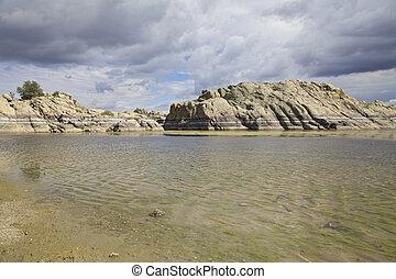 Willow Lake Prescott Arizona - scenic willow lake lined with...