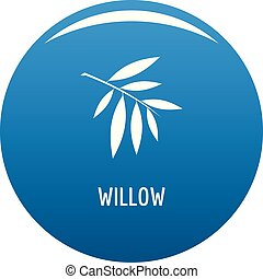 Willow leaf icon blue vector