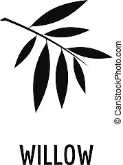Willow leaf icon, simple black style - Willow leaf icon....