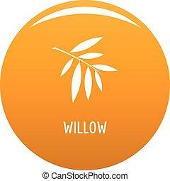 Willow leaf icon vector orange