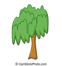 Willow tree icon, cartoon style