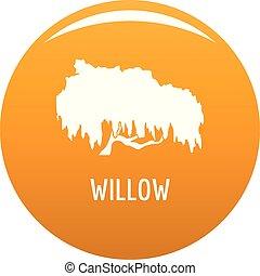 Willow tree icon vector orange