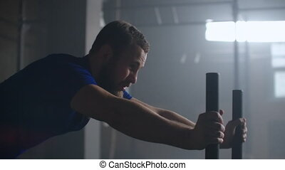Willpower and motivation, camera follows young athletic man ...