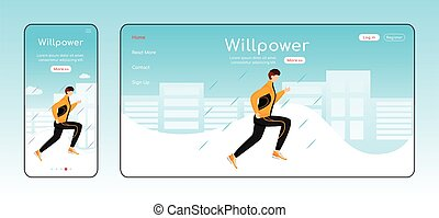 Willpower landing page flat color vector template. Mobile ...