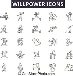 Willpower line icons, signs set, vector. Willpower outline ...