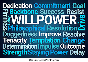 Willpower Word Cloud on Blue Background
