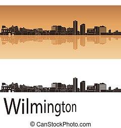 Wilmington skyline in orange background in editable vector ...