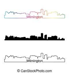Wilmington skyline linear style with rainbow in editable ...