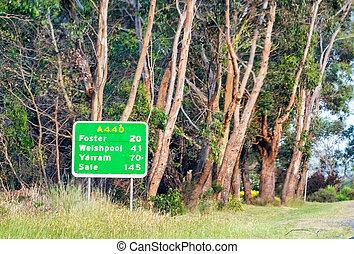 Wilsons Promontory road sign, Victoria - Australia.