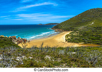 Wilsons Promontory Victoria - Top view of Squeaky Beach in...