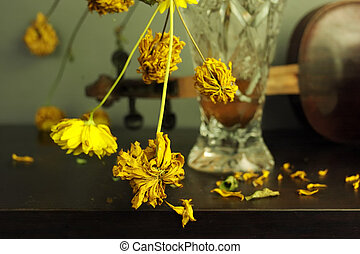 Wilted Yellow Flowers - Wilted yellow flowers in vase, ...