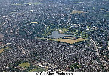 Wimbledon, South London - aerial view - Aerial view of the...
