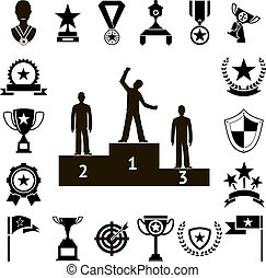Win Awards Symbols and Trophy Silhouette Icons Set Isolated Vector Illustration