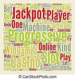 Win Big At Progressive Slots text background word cloud concept