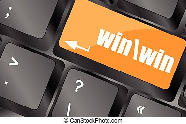 win button on computer keyboard key, vector illustration