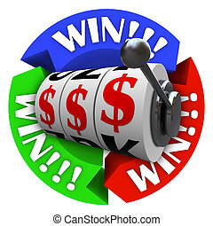 Win Circle with Slot Machine Wheels and Money Signs