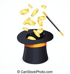 Win Concept with Magic Hat and Gold Coins. Vector
