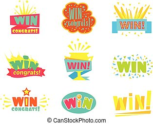 Win congratulations stickers assortment of comic designs for video